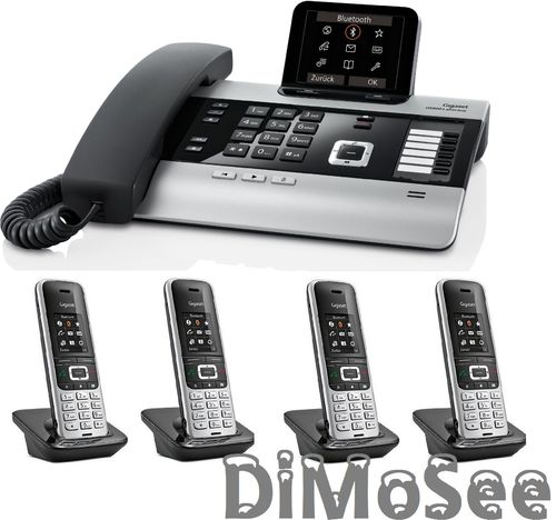 GIGASET DX800A Basis (VoIP, ISDN, Analog) all in one + 4 Mobilteile S850HX