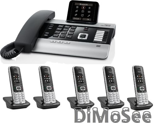 GIGASET DX800A Basis (VoIP, ISDN, Analog) all in one + 5 Mobilteile S850HX